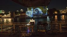 Mobile Projection Unit (Fernanda D'Agostino &Sarah Turner) with musician Crystal Cortez, Springs, 2020
